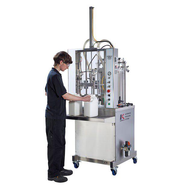 Semi-automatic 2 head volumetric vertical filling machine