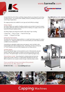 Karmelle Capping Machines brochure