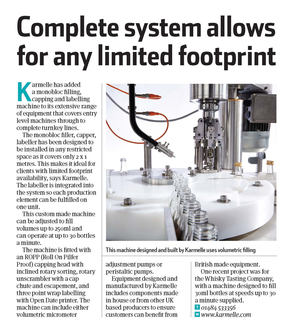 Machinery Update – January/February 2015: Complete system allows for any limited footprint
