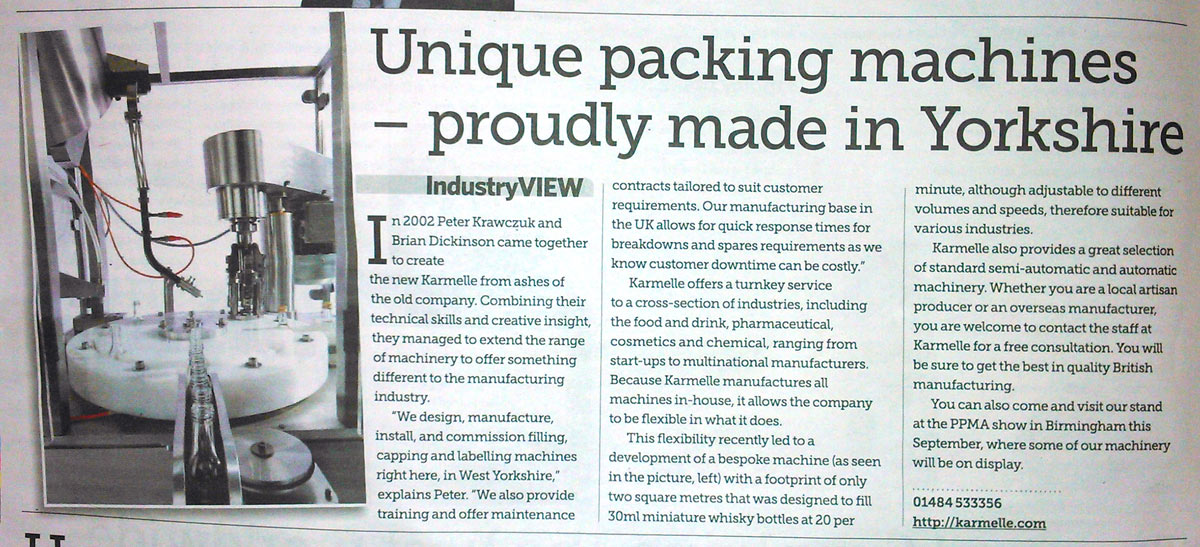 Sunday Telegraph – Made in Britain supplement: Unique packaging machines – proudly made in Yorkshire