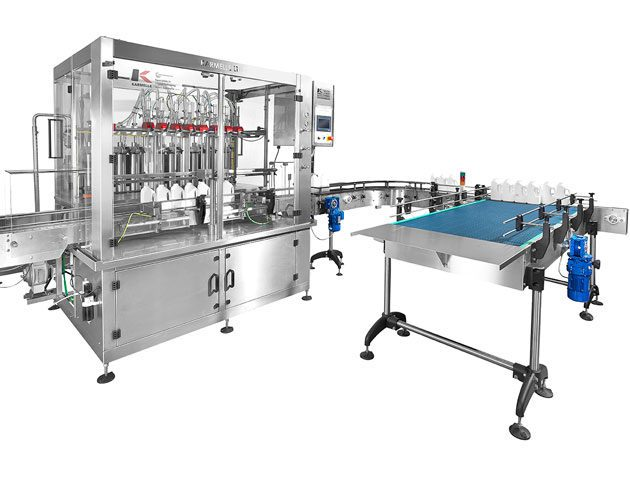 Volumetric 8 head 1 ltr filler with a feed table